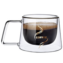 2PCS double glass coffee mug with handle american style cup handgrip cups and mugs creative drinkware