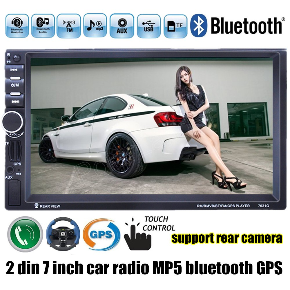 2 din 7 inch Car Radio 8G map card avialable MP5 MP4 Player GPS Stereo video FM USB TF bluetooth steering wheel control 12v 4 1 inch hd bluetooth car fm radio stereo mp3 mp5 lcd player steering wheel remote support usb tf card reader hands free