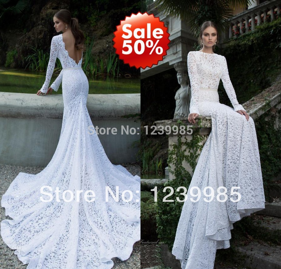 2015 elegant slim fit mermaid gown white lace long sleeve for Slim white wedding dresses