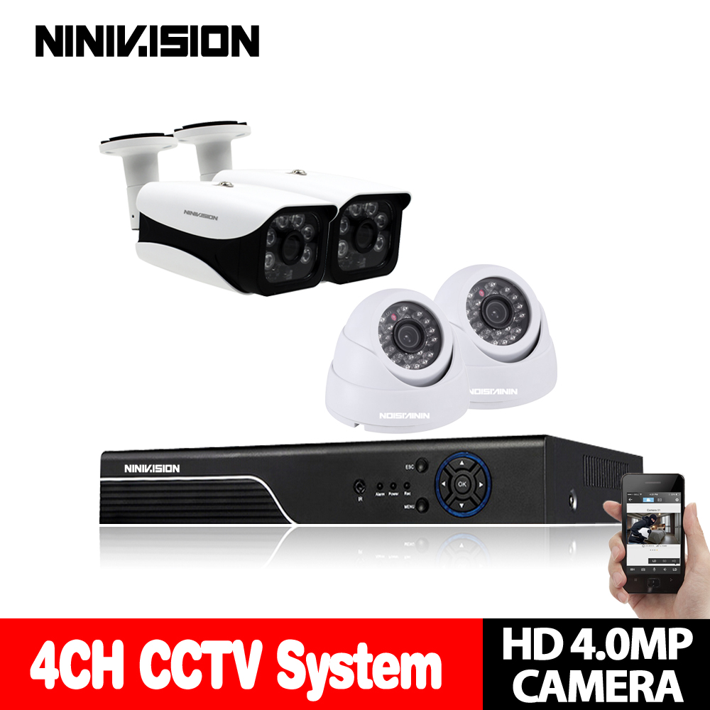 4CH CCTV System 4K DVR NVR With 4Pcs 4MP AHD Camera In / Outdoor Night Vision Waterproof Security Camera Surveillance System set