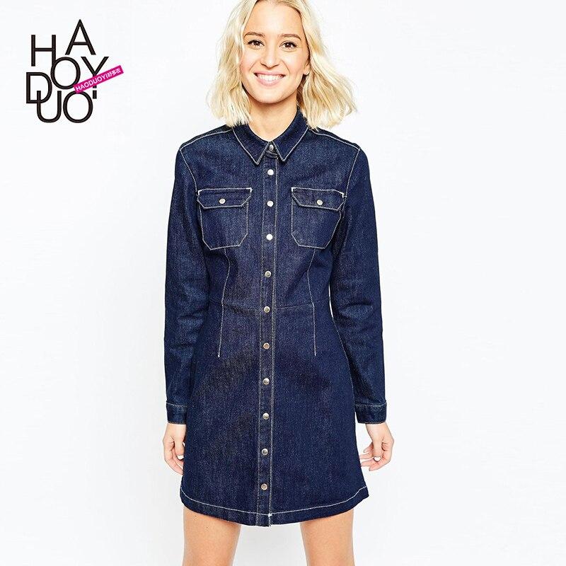 Plus Size Women Dress 2017 Autumn Vintage Denim Shirt Dress Women
