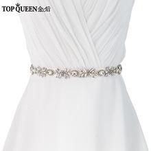 TOPQUEEN S292 Women's Handmade Wedding Bride Bridesmaid Crystal Rhinestone Sash Belt For the Wedding Evening Party Bridal Dress