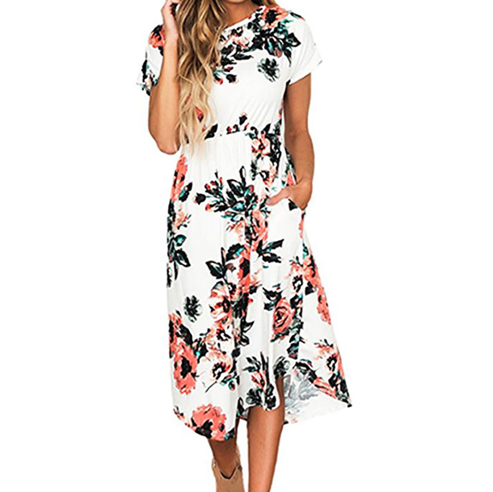 Floral Print Vintage Long Dress 2018 Women Short Sleeve O-neck Beach Summer  Dresses Casual d5b384439836
