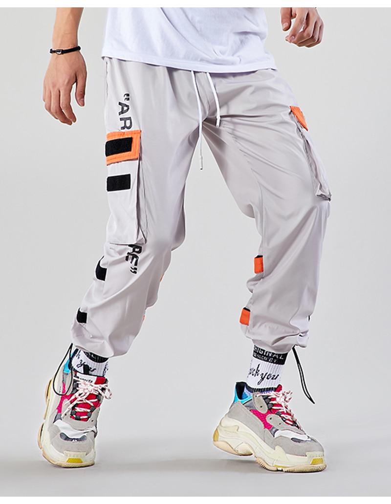 Aolamegs Men Casual Track Pants Splicing Contrast Pants Men Elastic Waist Sweatpants Men High Street Hip Hop Pants Streetwear (9)