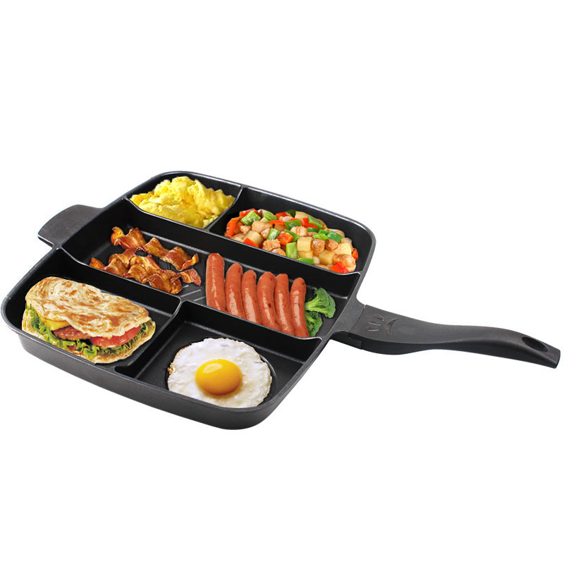 15 Inches Non-stick Frying Pan 5 In 1 Fry Pan Divided Grill Pan For All-in-One Cooked Breakfast Pot Fry Oven Meal Skillet