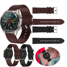 22mm watch bands for Huawei Watch gt strap/For Honor Magic/galaxy 46mm strap Leather belt smart replace wristband