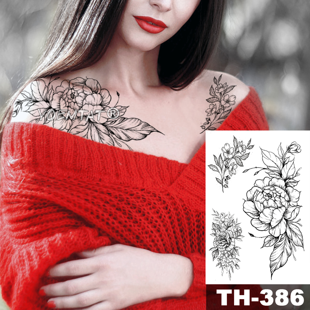 Pink Peony Rose Flower Waterproof Temporary Tattoo Sticker Black Tatto Body Art Big Arm Hand Girl Women Fake Tatoo 1