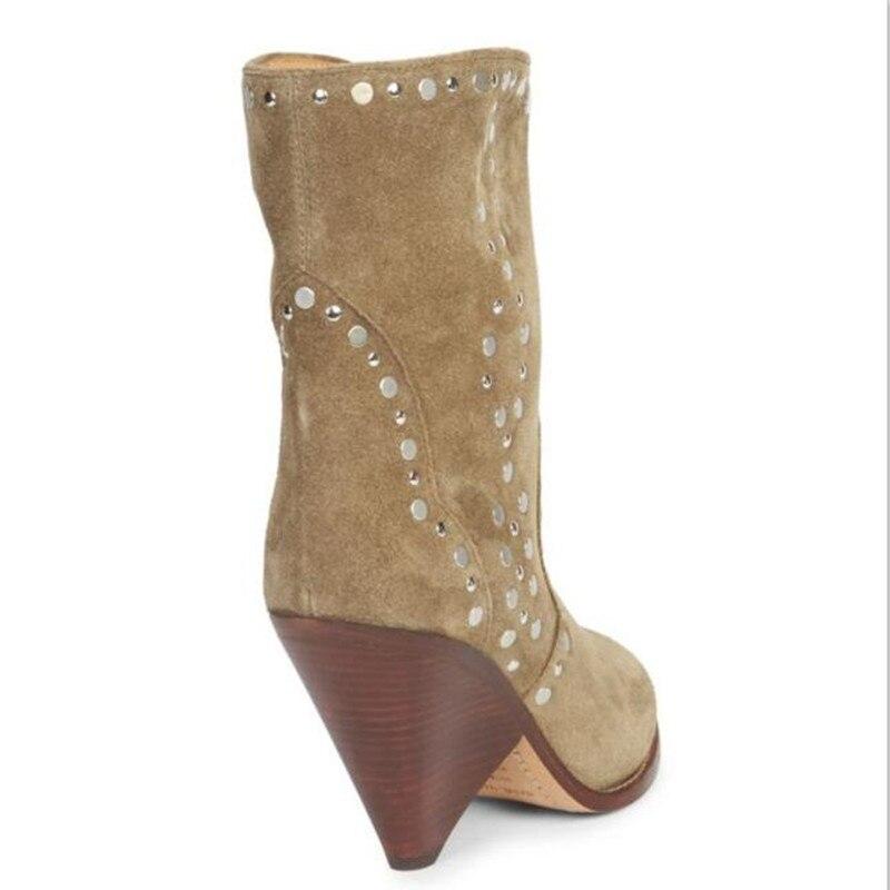 As Rivers Pour Cheville En Chaussures Femmes Botines Aiguilles Glissement Talons Cuir Bout Sur Show Nouveau Cowboy Mujer Clouté Suede Bottes Pointu FCHgwxHqA