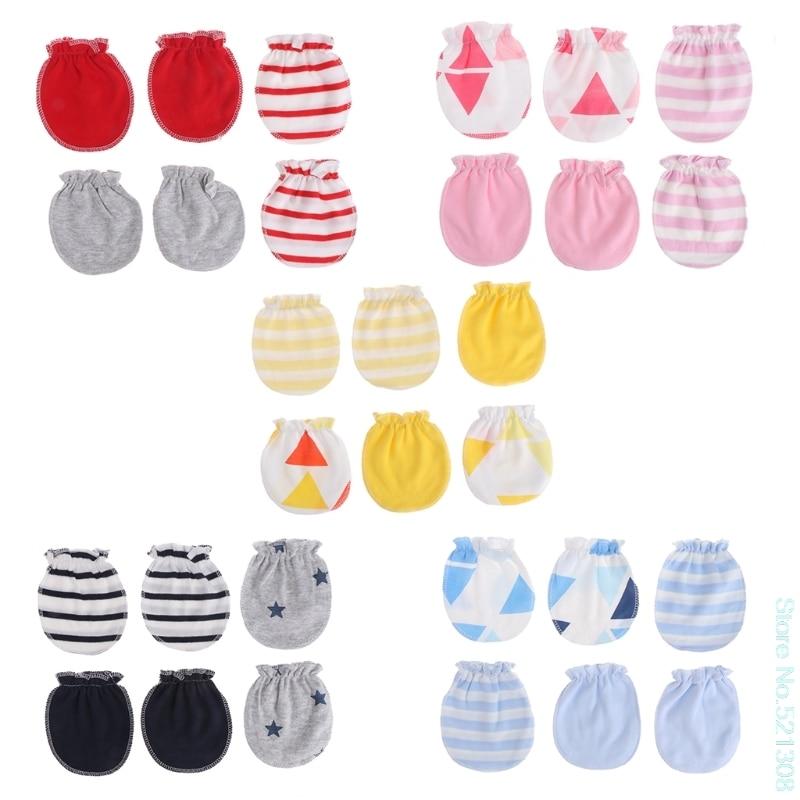 Care Baby 3 Pairs Fashion Baby Anti Krabben Handschoenen Geboren Bescherming Gezicht Katoen Scratch Wanten Mooie Soft Drop Schip Fijn Vakmanschap