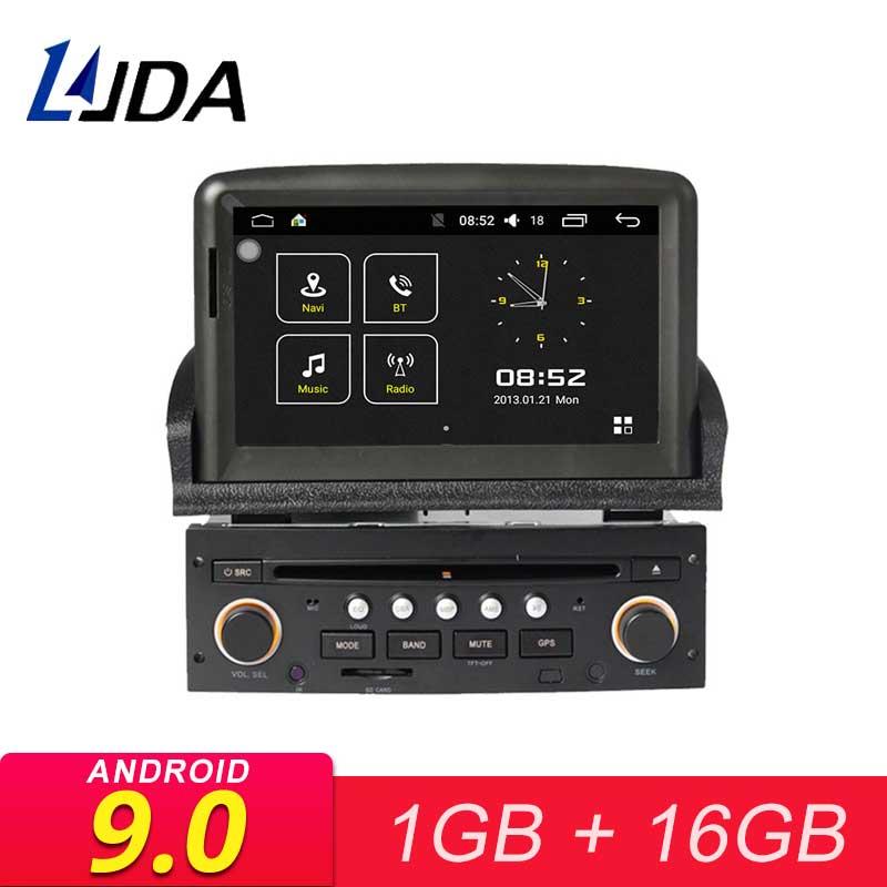 Lecteur multimédia de voiture LJDA Android 9.0 pour Peugeot 307 2007-2011WiFi Navigation GPS 1 autoradio autoradio stéréo lecteur CD DVD Canbus