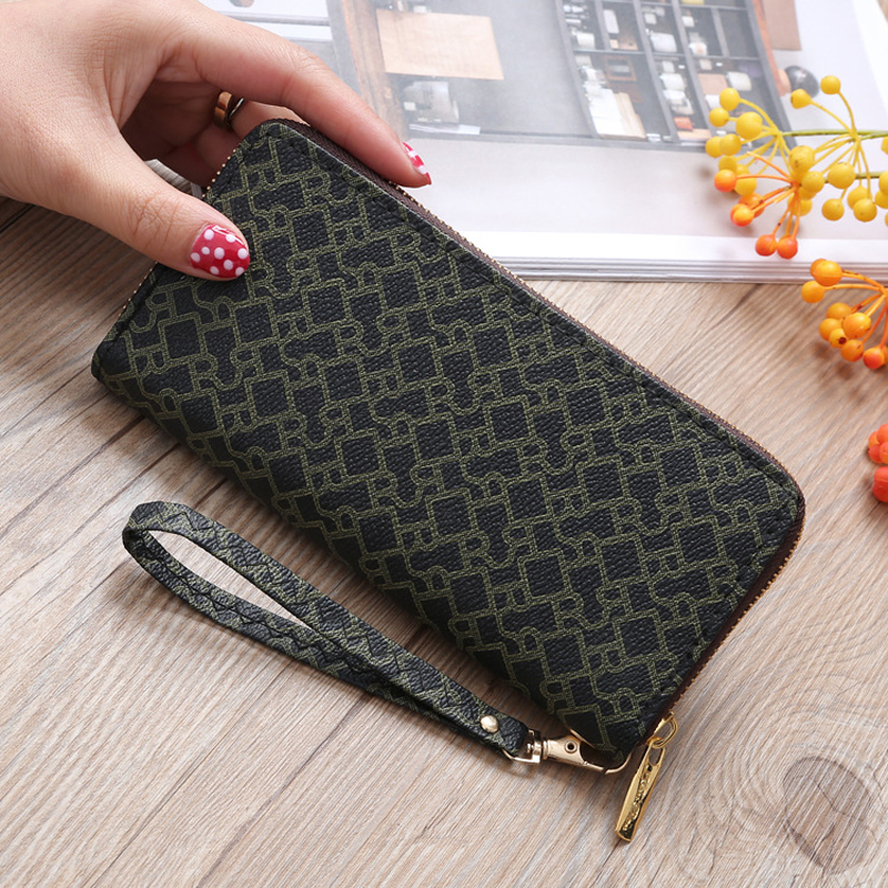 2018 High Quality Women Leather Purses Wallets Luxury Brand Wallet Female Clutch purse Double Zipper Clutch Coin Card Wallet Bag brand double layer zipper wallet phone bag purses women money bag high quality waterproof nylon clutches coin pocket