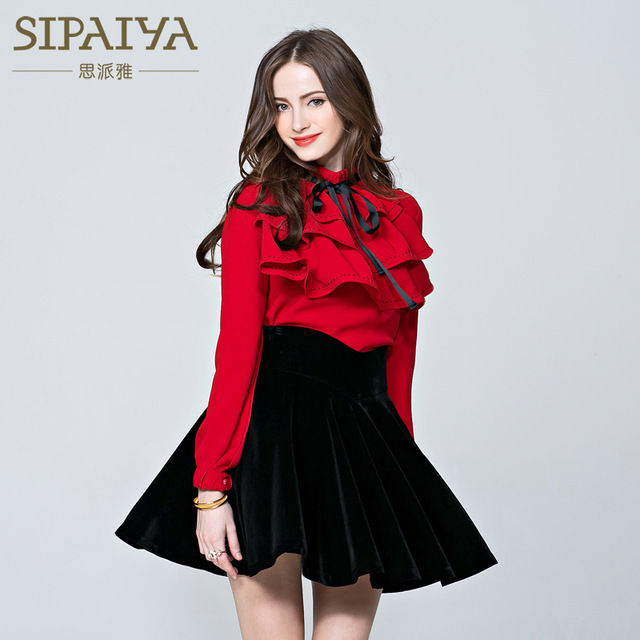 SIPAIYA Red Color OL Blouse High Quality Formal Office Shirt For Women Long Sleeve Lace up Draped Ruffle Fashion Tops Women 2017