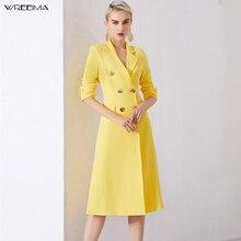 Wreeima elegante mediados de la cintura doble breasted mujeres vestido de oficina blazer amarillo Split vestido 2019 Otoño Invierno Delgado traje señoras vestido