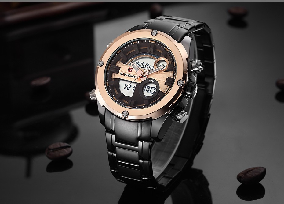 Top Luxury Brand NAVIFORCE Men Full Steel Sport Watches Men's Quartz Analog LED Clock Man Military Wrist Watch Relogio Masculino 8