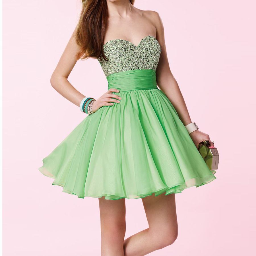 Gorgeous Lime Green Short Prom Dresses Ball Gown Homecoming Dress ...