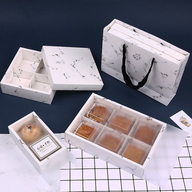 2018 New 10pcs Marble Printing Wedding Gift Bags Gift Cases For Cake Moon Containing Mooncake Packaging Box Marble Paper Bags