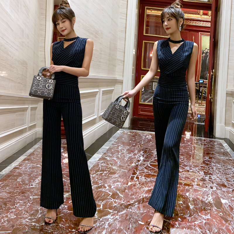 2019 Women Sleeveless Elegant Office Lady Striped romper   Jumpsuit