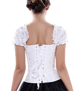 Image 3 - Sapubonva corsets bustiers tops clothing black white overbust gothic corsets with straps vest halter sexy bridal corselet ladies
