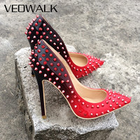Veowalk Full Rivets Women Sexy Pointed High Heels Gradient Color Italian Stiletto Ladies Evening Party Pumps Customized Accept