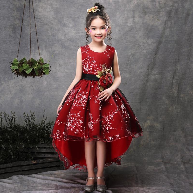 2ebc377c2 Fashion Flower Girls Trailing Dress Kid Princess Party Wedding Gowns ...