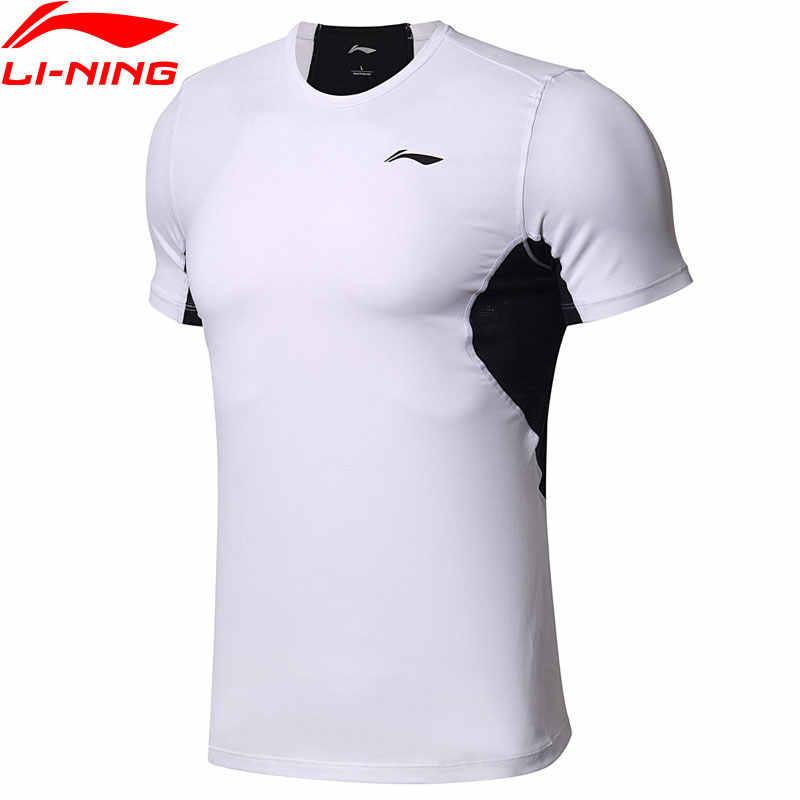 (Break Code) li-Ning Mannen Training T-shirts Voor Gym Op Droog 88% Nylon 12% Spandex Slanke Voering Li Ning Sport Tee tops ATSN037 MTS2783