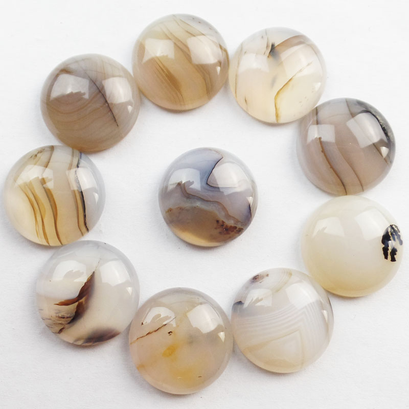 (Free Shipping) 10Pcs Ocean Chalcedony Round CAB CABOCHON 20x7mm HH1197(As Picture)
