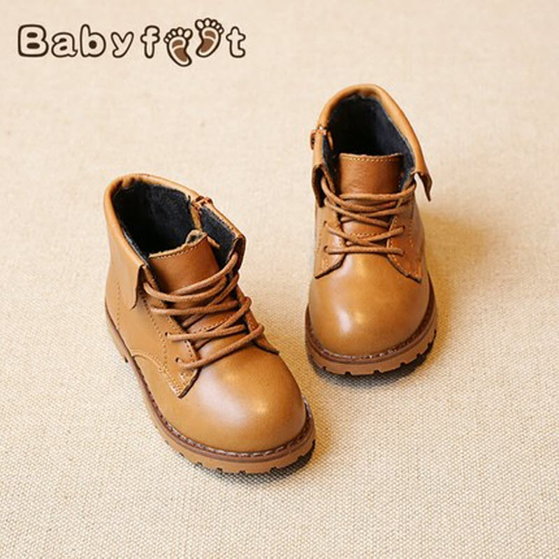 2017 brand designer warm velvet sports children ankle boots kids girls Winter Genuine Leather shoes infant boys toddler sneakers