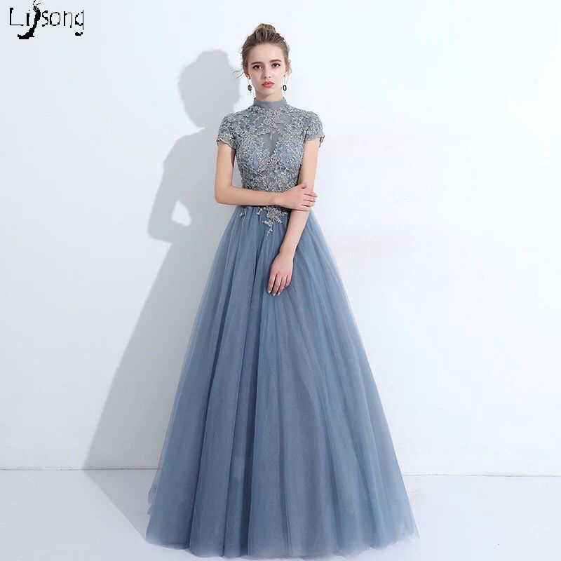 Dusty Blue Real Photo Women Evening Dress Summer Vestidos De Noiva Full Length Formal Maxi Gowns