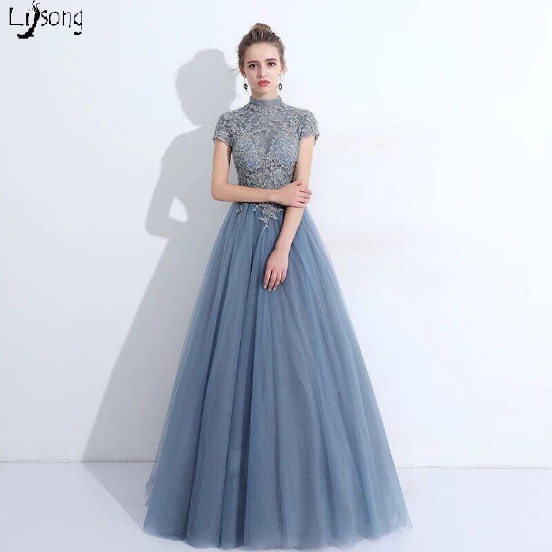 Poussiéreux bleu vraie Photo femmes robe De soirée d'été Vestidos De Noiva pleine longueur formelle Maxi robes magnifique longue robe pour la beauté
