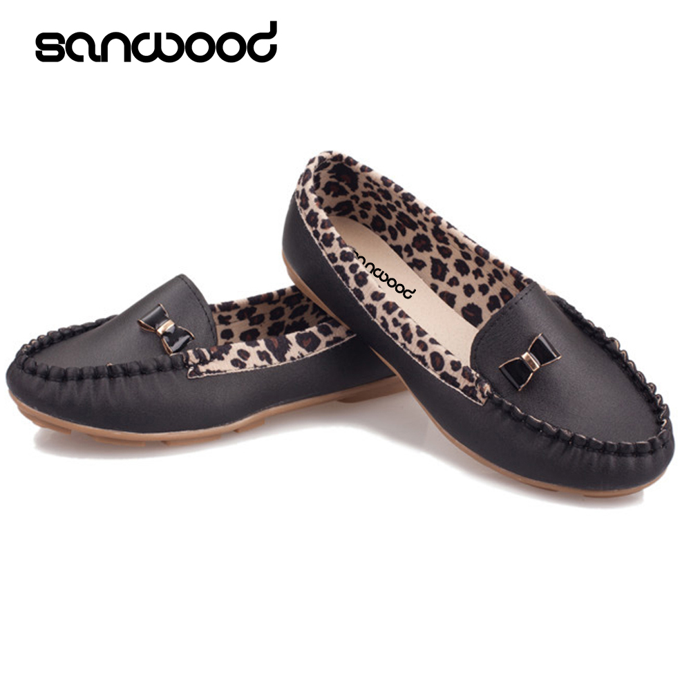 Women Faux Leather Flat Heel Casual Leopard Pattern Loafer Round Toe Boat Shoes fashion tassels ornament leopard pattern flat shoes loafers shoes black leopard pair size 38