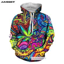 Jumeast 3D Printed Psychedelic Abstract Men/Women Hoodies Fashion Colorful Totems Hooded Sweatshirt Long Sleeve Sport Pullover