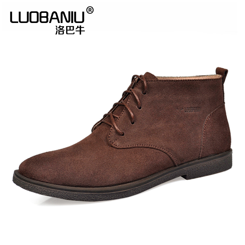 US SIZE 12 13 Nubuck Leather Casual Lace Up Desert Chukka Ankle Boots Mens Formal Dress Oxford Winter Cotton Shoes us 6 10 mens black genuine leather lace up fur lined ankle boots winter warm oxford dress shoes