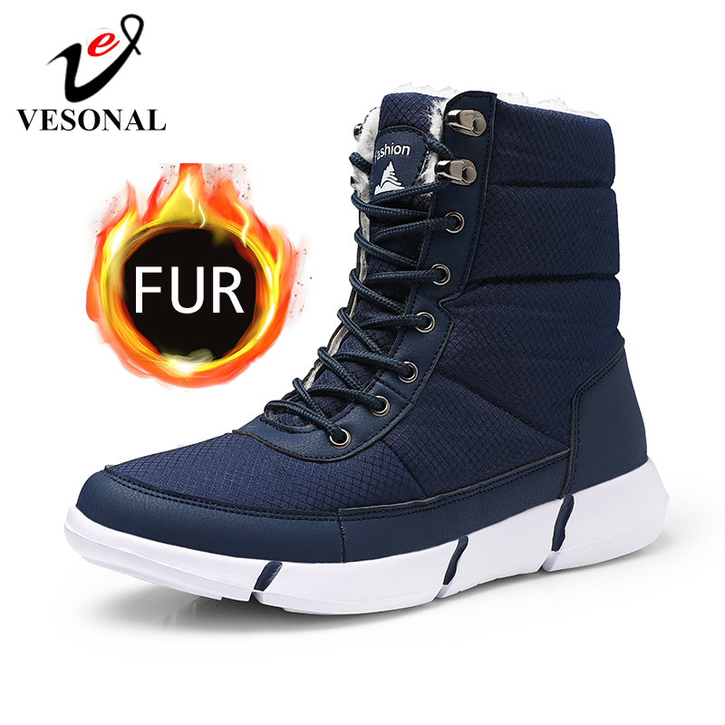 VESONAL 2019 Winter Waterproof Snow Men Boots Shoes With Fur Plush Warm Male Casual Women Mid-Calf Boot Sneakers Unisex