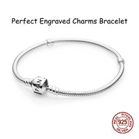 Perfect Charm Logo Engraved S925 Silver Classical Charms Bracelet Bangles Women Diy Beads Jewelry Making 1pz