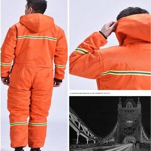 Image 3 - Зимние комбинезоны, теплая рабочая одежда с хлопковой подкладкой и капюшоном, пыленепроницаемые зимние уличные пальто для рыбалки, Рабочие Комбинезоны