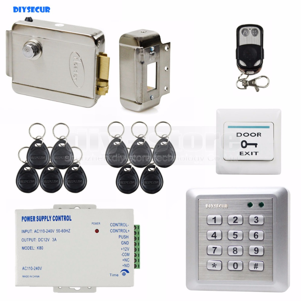 DIYSECUR Electric Lock Waterproof 125KHz RFID Reader Password Keypad Door Access Control Security System Door Lock Kit W4 diysecur electric lock waterproof 125khz rfid reader password keypad door access control security system door lock kit w4