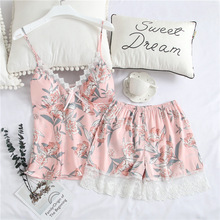 Feier 2 PCS Pajama Set Sexy Faux Silk Satin Sleepwear Women Femme Fashion Flower Prints Pajamas for Summer Pyjamas
