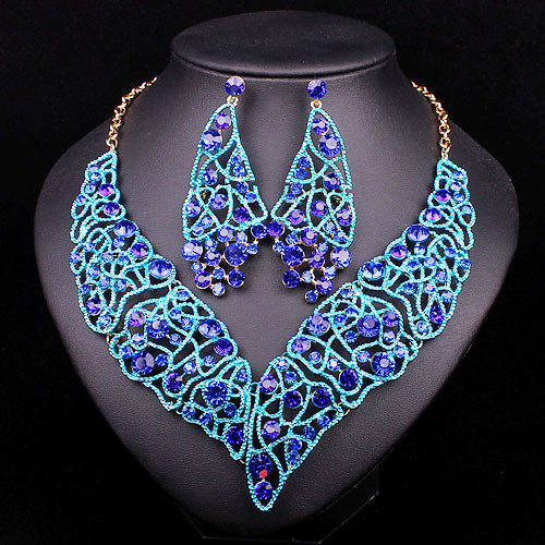 Fashion Indian Bridal Jewelry Sets Statement Necklaces And Earrings For Bridesmaid Wedding Party Dress Costume