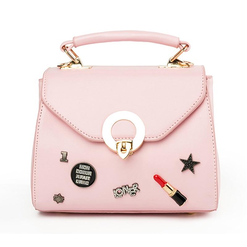 Homeda Women Leather Handbags Letter&Rivet Lipstick Ring Hasp Totes Solid Shoulder Bag Ladies Pu Sacoche Femme Q-73 монетница no hasp sh bag 055 q