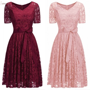 цена на Burgundy Short Lace Bridesmaid Dress 2019 Scoop Neck Sleeve Wedding Formal Party Gown robe demoiselle d'honneur