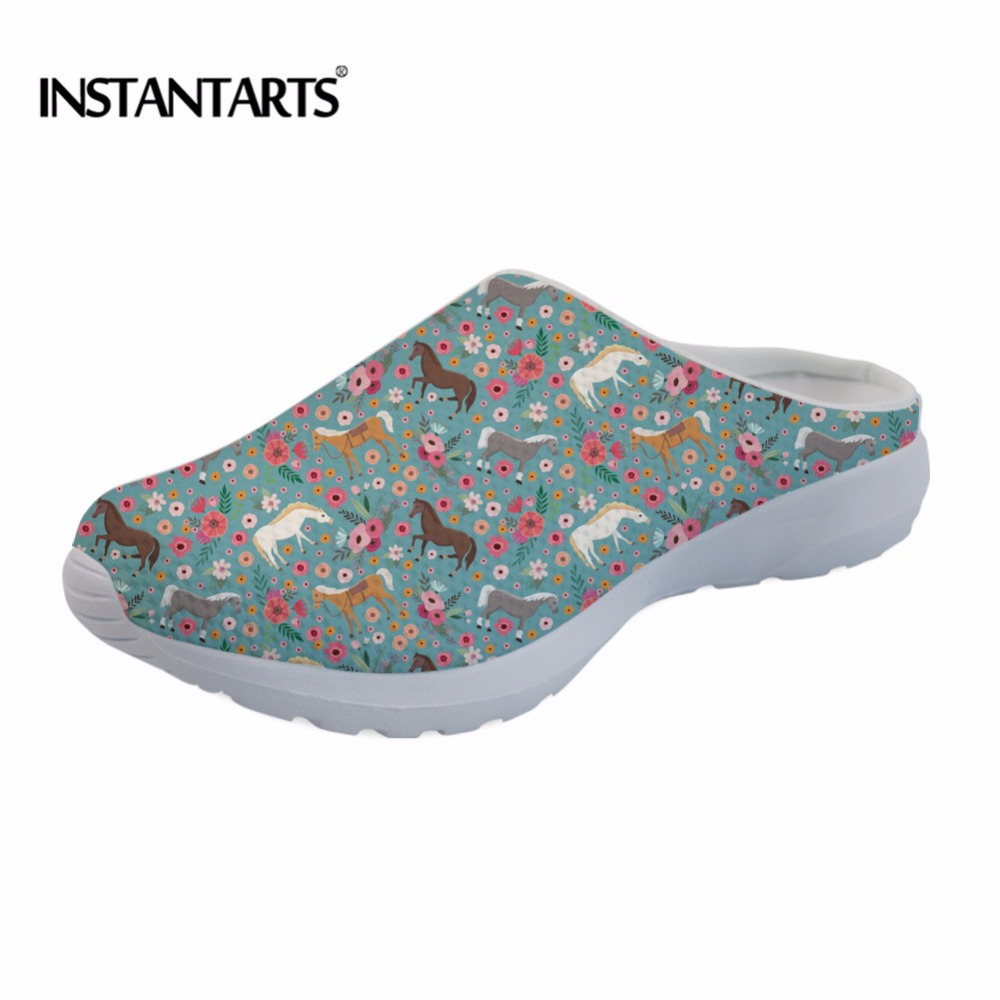 INSTANTARTS Women Summer Shoes Beach Sandals Women Hollow Floral Slippers Flip Flops Animal Horse Flower Women Light Sandalias instantarts women flats emoji face smile pattern summer air mesh beach flat shoes for youth girls mujer casual light sneakers