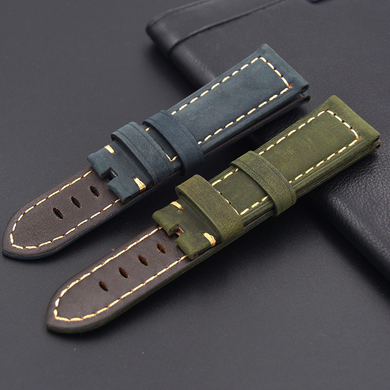 New Men blue green 22mm 24mm Handmade Italian Vintage Genuine Leather Watch Band Strap No buckle Watchband Strap for Panerai PAM 24mm handmade black red stitched genuine calf leather watch strap band for deployment buckle watchband strap for panerai pam