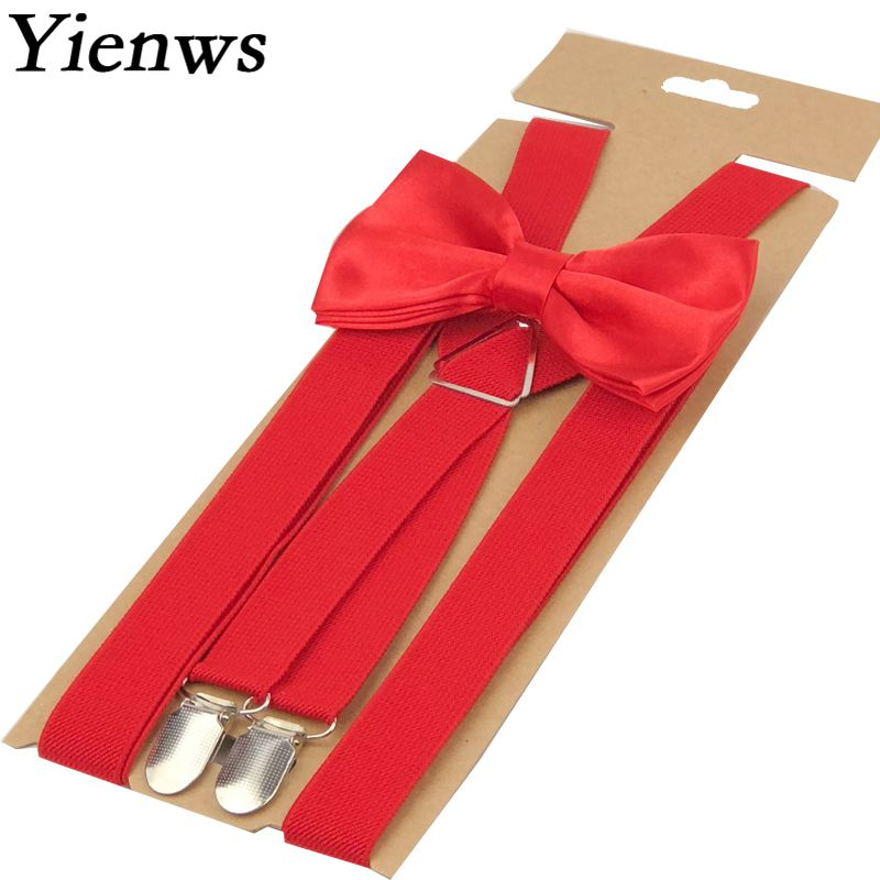 Yienws Red Bow Tie Suspenders Adulto 4 Clasp Pants Bowtie Brace For Men Women Plain X-Back Suspensorio Wedding Party YiA063
