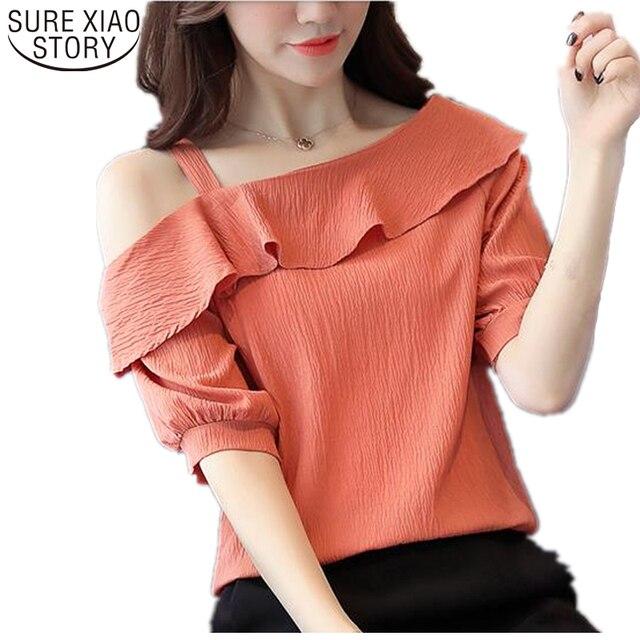 87f6e1e081a 2019 fashion new half sleeves sexy Strapless slash neck solid chiffon women  blouse summer lotus leaf women shirt blusas 123J 30