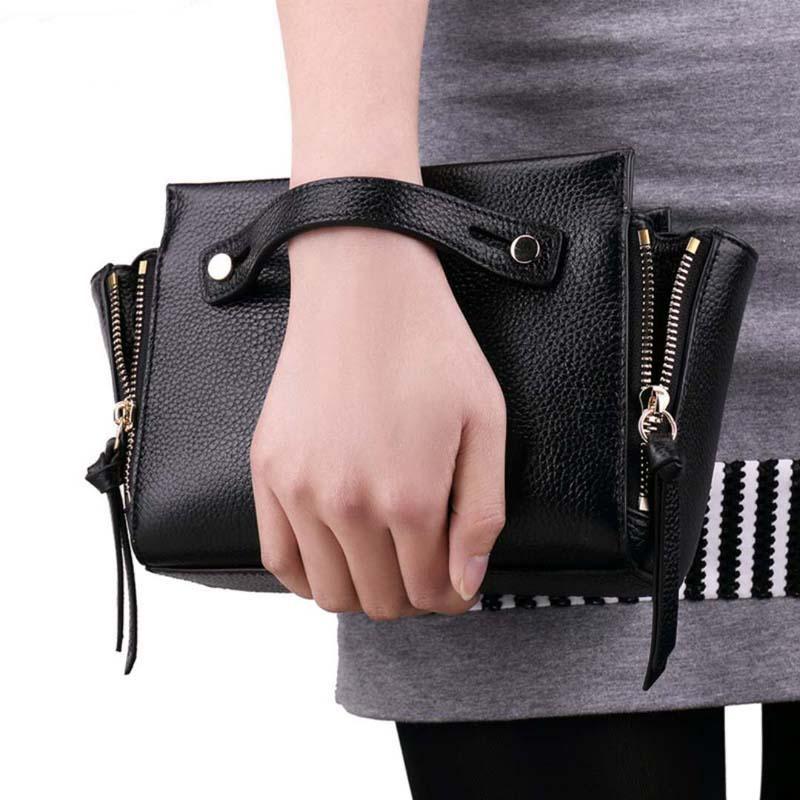 2016 Women Handbags Ladies Genuine Leather Shoulder Bags Fashion New Versatile Solid Zipper Soft Handbags For Women Single Flap