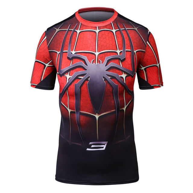 d9b60b2466a0 High quality spider man superman batman T shirt short Sleeve Basketball  Jerseys Jogging gym sport Yoga-in Running T-Shirts from Sports    Entertainment on ...