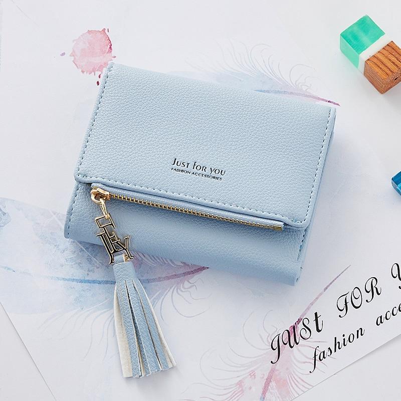 Tassel Women Wallet Small Leather Wallet Female Zipper Credit Card Pocket For Girls Photo Coin Purse Short Standard Wallets retro tiny bell tassel anklet for women