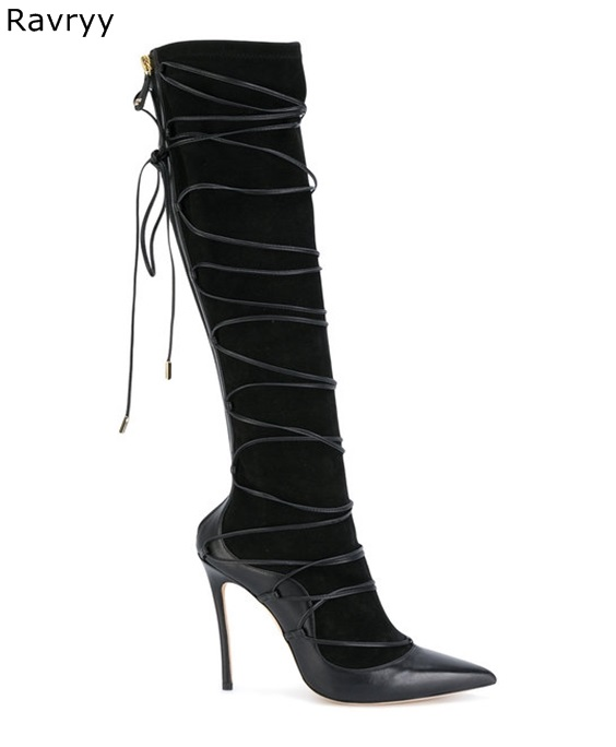 2018 Elastic Black Long Boots Cross Tied Woman Knee-high Boots Pointed Toe Thin Heel Autumn Winter Fashion Female Shoes2018 Elastic Black Long Boots Cross Tied Woman Knee-high Boots Pointed Toe Thin Heel Autumn Winter Fashion Female Shoes