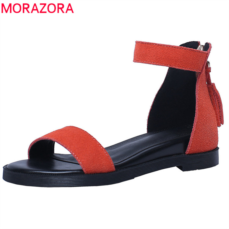 MORAZORA 2019 high quality suede leather shoes women sandals zip fringe beach shoes simple summer footwear female flat shoesMORAZORA 2019 high quality suede leather shoes women sandals zip fringe beach shoes simple summer footwear female flat shoes