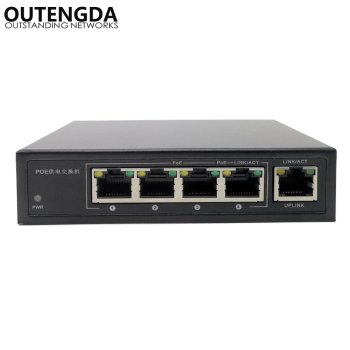 OUTENGDA 5 Ports 4 PoE Injector 24v Power Over Ethernet Switch 4,5+/7,8-, Power Adapter max120W optional цена 2017